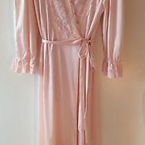 Vanity Fair Peignoir Nylon Lace Robe Size M Blush Pink Long Sleeve Romantic Vtg  Photo