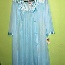 Vanity Fair Semi Sheer Nylon Gown & Robe Nwt Size Medium  Knee Length  Aqua Photo