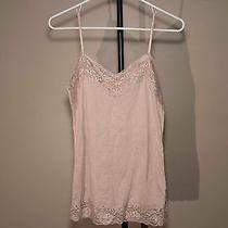 Vanity Sleeveless Blush Pink Tank Top Large Lace Accents Crinkle Adjustable Used Photo