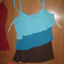 Vanity Turquoise Brown Aqua Tiered Ruffle Spaghetti Strap Stretch Tank Top S Photo