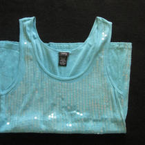 Vanity Woman Xl Sequin Tank Top Summer Shirt Aqua Blue Photo