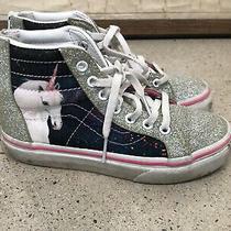 Vans Sparkle Metallic Silver Blue Pink Unicorn Hightop Sz 13 Sneakers Zip Guc Photo