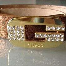 Vegan Copper Belt by Guess With Gold Buckle Signature Logo Bling Rhinestones Photo