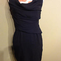 Velvet by Graham & Spencer Dress Slouch Draped Navy 100% Cotton Petite Small Ps Photo