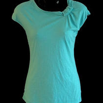 Velvet Graham & Spencer S Aqua Blue Cotton Jersey Top Shirt Asymmetric Neckline Photo