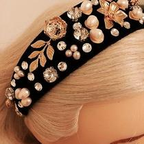 Velvet Headband With Swarovski Strass and 14k Gold Plated Over Silver by Lasha Photo