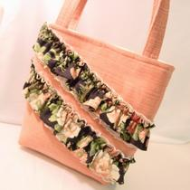 Velvety Peach Blush With Ruffles Handmade Handbag Purse Tote  Ooak Photo
