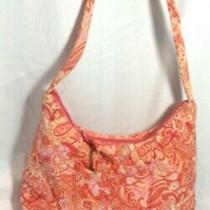 Vera Bradley 10x12 Orange Peach Retired Hobo Handbag Purse
