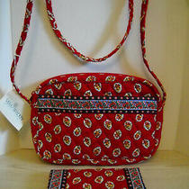 Vera Bradley 2 Piece Quilted Handbag Purse Checkbook Cover Wallet Pen Red Leaf Photo