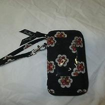 Vera Bradley All in One Wristlet Taxi Pirouette Black Red Flower Plaid Iphone Photo