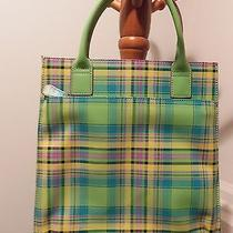 Vera Bradley Baekgaard Tartan Brights Hand Held Tote Apple Green Excellent Photo