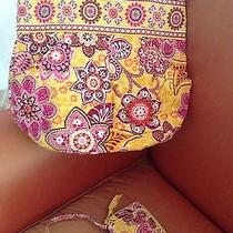 Vera Bradley Bali Gold Floral Pouchy Handbag & Wallet Roomy W Pockets Galore Photo