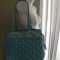 Vera Bradley Bermuda Blue Paisley Side Tie Tote Shoulder Bag Photo