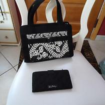 Vera Bradley Black Microfiber Clutch Wallet and Matching Handbag Photo