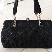 Vera Bradley Black Microfiber Quilted Purse Handbag Photo