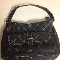 Vera Bradley Black Quilted Microfiber Bay Hobo Blue Stitch Purse Photo