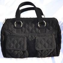 Vera Bradley Black Quilted Microfiber Cargo Satchel Handbag Photo