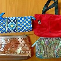 Vera Bradley Blue Clutch Cosmetic Evening Tommy Hilfiger Red Mini Tote Set 4pc Photo