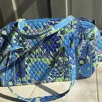 Vera Bradley Blue Large New Duffle Bag Tote in Doodle Daisy Pattern New Photo