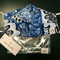 Vera Bradley Blue Star Medallion Cotton Face Mask With Filter Pocket New W/ Tags Photo