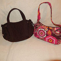 Vera Bradley Brown Red Orange Floral Cotton Small Top Handle Shoulder Bag Lot Photo
