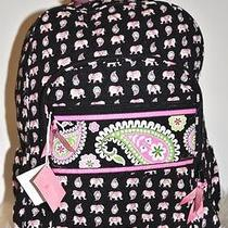 Vera Bradley Campus Backpack Pink Elephant Roomy Fast Shipping Photo