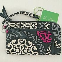 Vera Bradley Canterberry Magenta  Wristlet Slim Wallet Clutch Black New Retired Photo