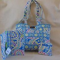 Vera Bradley Capri Blue Small Tic-Tac Tote Handbag Book Cover Notebook Free Ship Photo