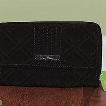 Vera Bradley Classic Black Microfiber Large Checkbook Ultimate Wallet - Nwt Photo