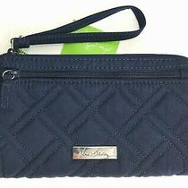 Vera Bradley Classic Navy Front Zip Wristlet Wallet R44 Photo