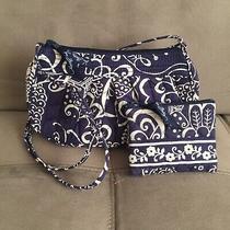 Vera Bradley Crossbody Bag W/ Coin Purse Blue White Paisley Floral Print  Photo