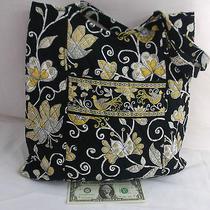 Vera Bradley Curvy Tote Yellow Bird Pattern Handbag   Photo