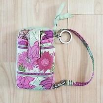 Vera Bradley Dahlia Pink Green Flower Wristlet Clutch Purse & Keychain Ring Photo