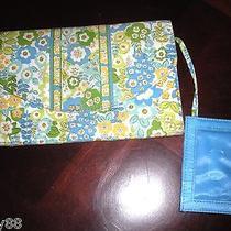 Vera Bradley English Meadow Travel Envelope Wallet Blue Green Flowers  Photo