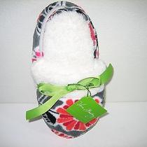 Vera Bradley Fleece Slippers Cheery Blossoms Nwt Medium 7/8 Authentic 14247-170m Photo