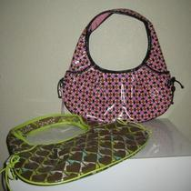 Vera Bradley Frill Green Pink Brown Plastic Hobo Shoulder Bag Photo