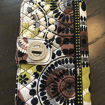 Vera Bradley Green White Brown and Black Zip Around Wallet With Clasp Photo