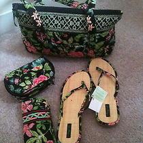 Vera Bradley Handbag Glass Caseflip Flops (New) and Cosmetic Bag... Photo