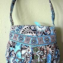 Vera Bradley Hannah Handbag Tote Retired Bali Blue Pattern Pleated Front Nice Photo