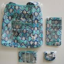Vera Bradley Hipster Go Fish Blue Bag 4 Pc Set Lanyard Zip Id & Sunglass Case Photo