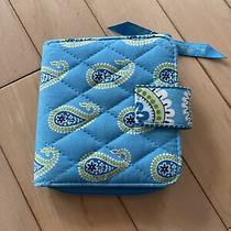 Vera Bradley Iconic Blue Coin Purse Zip Pouch Case Small Wallet Flowers Photo