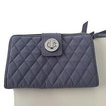 Vera Bradley Iconic Rfid Turnlock Wallet Charcoal Gray Microfiber New Photo