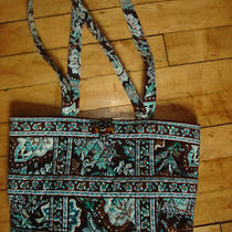 Vera Bradley Java Blue Aqua Brown Medium Tic Tac Tote Bag Purse Free Shipping Photo