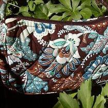 Vera Bradley Java Blue Paisley Purse Small Crossbody Shoulder Brown Floral Bag Photo