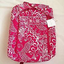 Vera Bradley Laptop Backpack in Twirley Bird Pink Photo