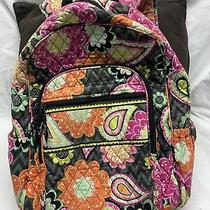 Vera Bradley Large Campus Backpack Black Floral Quilted Ziggy Zinnia Retired Photo