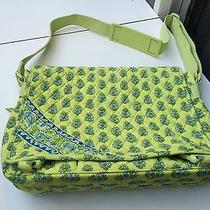 Vera Bradley Large Diaper/messenger Bag Lime Green With Blue Photo