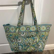 Vera Bradley Large Villager Zip Tote Peacock Green Blue Discontinued Photo