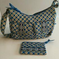 Vera Bradley Libby Riviera Blue Crossbody Purse  Matching Coin Purse - Vgc Photo