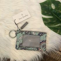 Vera Bradley Lighten Up Zip Id Case Fan Flowers Key Ring Blue Grey New Photo